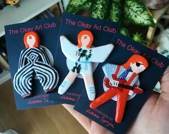 David Bowie Clay Pins