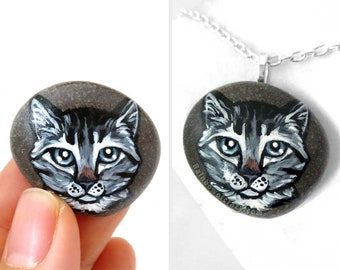 Gray Tabby Cat Art, Keepsake Jewelry, Pet Portrait, Animal Necklace, Memorial Pendant, Hand Painted Beach Stone, Original Painting, Pet Loss