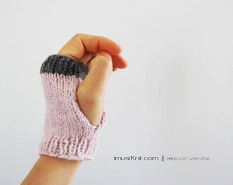 knitted fingerless gloves || 2-way to wear fingerless mittens || mattress stitch || gifts for her || cute driving gloves -blush heather