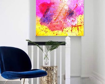 Abstract Painting Modern Wall Art, Pink Yellow Purple Abstract Art, Original Abstract Painting On Canvas.