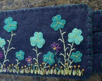 Embroidery Art, Shamrock, Irish Shamrock, flowers, Flower art, Coffee lovers, Handmade Penny Rug, Irish Mug Rug