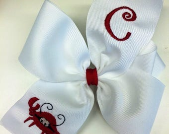 Crab Monogram, Initial Letter, Hair Bows, Summer Preppy, Embroidered Font, Sea Animal, HairBow, Girls Large Size, Smocked Accessory, Custom