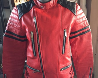 RED leather  and  Biker