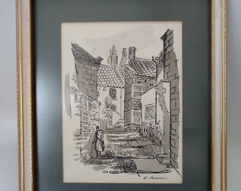 Framed Picture Robin Hood Bay Yorkshire by Ron Pearson Wall Art Ready to Hang