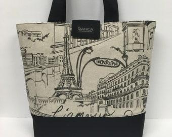 Paris Eiffel Tower Print Fabric Tote Bag Diaper bag