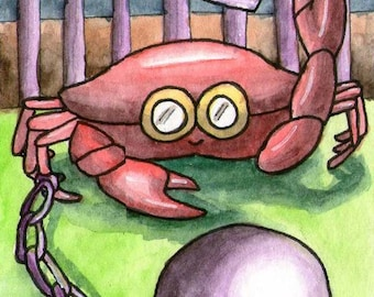 Crab prison jail ball chain goggles small wall miniature ATC Gift Art Trading Card Whimsical - Original ART ACEO Watercolor - Katie Hone