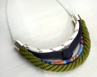 Green rope necklace/ Multi strand necklace/ Eco friendly necklace/ Nautical strand necklace/ Rope necklace.