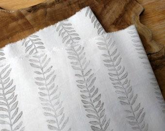 Grey and White Block Print Fabric | Hand block printed plant fabric, botanical fabric, leaf pattern fabric, leaf print on soft cotton fabric