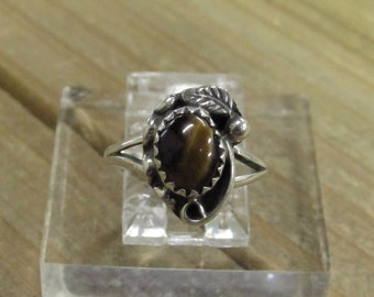 Vintage Sterling Silver Tigers Eye Ring Size 4 1/4