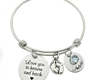 Personalized Love You To Heaven & Back Bracelet - Engraved - Expandable  Bangle - Miscarriage Remembrance - Loss Memorial Bracelet - 1320
