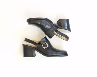 Vintage Womens 9 Innovations Ginny Black Leather Slingback Oxfords Mules Clogs Shoes Black Leather Heeled Riding Boots Biker 80s 90s Style