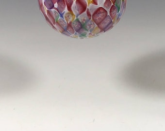 Hand Blown Glass Ornament:  Pink Blend and White Faceted Sphere