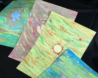 Hand-marbled Gift Wrap Marbled Paper Ebru Bright Patterns Large - 10 Dollars Each