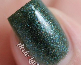 Yooper - 5 ml mini - dark green jelly polish with multicolored flecks and holographic sparkle - indie polish by ALIQUID Lacquer