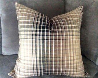 Grey brown plaid Pillow Cover, Wool pillow, plaid cushion, Handmade pillows, Throw pillow, Mens home decor