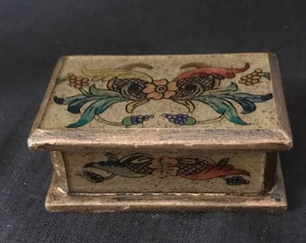 Vintage Box Wooden Trinket Box Ring Box Miniature Box