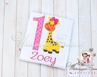 First Birthday Shirt - Baby Girl 1st Giraffe Birthday Shirt - Animal Zoo Theme Party - Toddler 1st Birthday Outfit - First Birthday Outfit