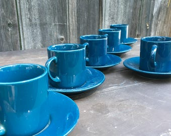 Copco demitasse cups and saucers set of six in blue 1980s vintage
