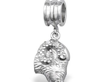 BUNCHABEADS CZ ARIES Ram Zodiac Symbol Bead Charm - 925 Sterling Silver - BD4208