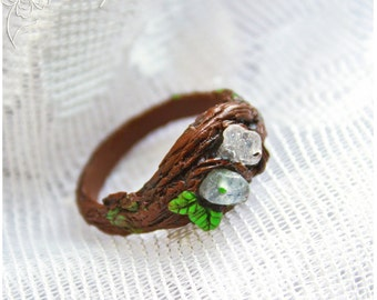 tree twig green leaves ring druid branch leaf ring tree bark textured band cosplay elven ring witch wood branch grain tree twig ring
