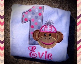 Girls Sock Monkey Birthday Shirt