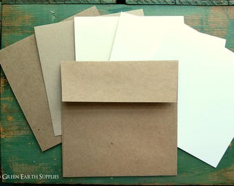 "25 4.75"" Square Folded Cards with 5"" Envelopes, Recycled Kraft Brown, Light Brown, White, Natural, or Ivory cards, 5"" kraft brown envelopes"