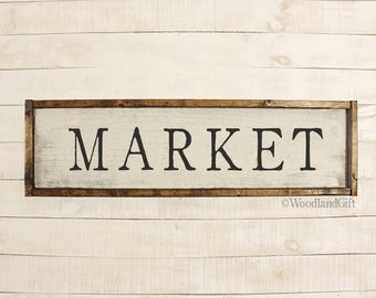 Market Sign | Farmhouse Market Sign | Rustic Farmhouse Market Fresh Vintage Framed Wood Sign | Market Decor | Market Wall Art | Market