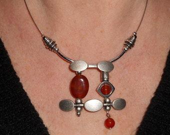 Statement necklace, funky jewelry, carnelian necklace, unique necklaces, asymmetric jewelry, boho necklace, silver necklace, metal jewelry,