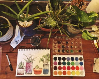Custom Botany Watercolor Painting