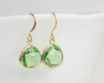 August Birthstone Peridot Gold Earrings, Birthstone Gold Earrings, Green Gold Earrings, August Birthstone Earrings, Bridesmaid Earrings #807