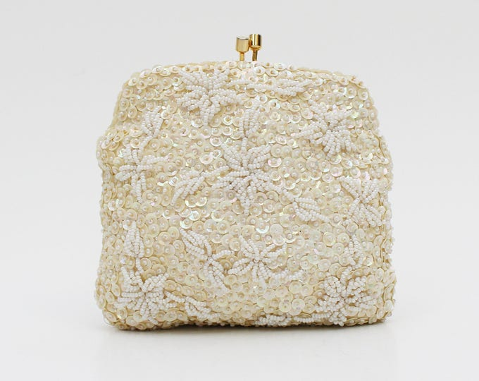 Ivory Floral Beaded Handbag - Vintage 1960s Beaded Wedding Purse