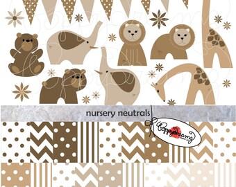Nursery Neutrals Paper and Elements SET: Digital Scrapbook Paper Pack (300 dpi) Zoo Baby Shower Bunting Chevron Dot Stripe