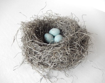 Bird Nest Woodland Wedding Decor Handmade with Pale Blue Green Crow's Eggs by Perch and Patina