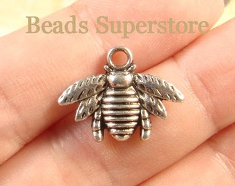 21 mm x 16 mm Antique Silver Bee Charm / Pendant - Nickel Free, Lead Free and Cadmium Free - 10 pcs (CH162)