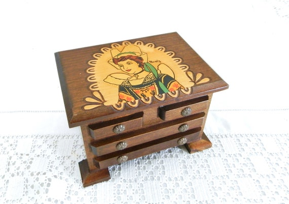 Vintage Souvenir Wooden Miniature Chest of Drawers Jewelry Box from Brittany Western France with Poker Work Pattern, Breton Trinket Casket