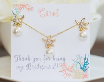 Bridesmaid Jewelry | Beach Wedding | Nautical Wedding | Bridesmaid Gifts | Earring & Pendant Set | Starfish Earrings | Starfish Necklace