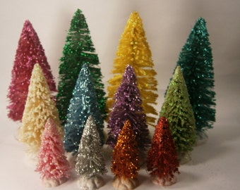 Assorted set of 12 glittered bottle brush trees: four of each size of colorful sisal trees