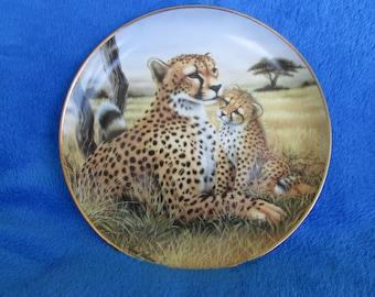 Vintage Collector Porcelain Plate Tender Moments Cheetah Africa Safari