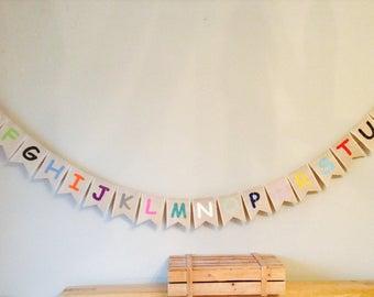 Childrens Alphabet & Colours Bunting Banner. Nursery, Playroom, Bedroom  Educational