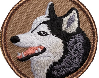 Husky Dog Patch - 2 Inch Diameter Embroidered Patch