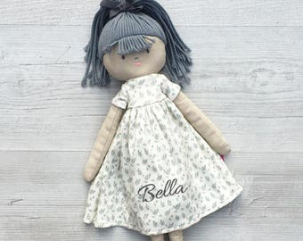 Personalised Embroidered Rag Doll Flower Girl Newborn First 1st Birthday Wedding Christening Gift Approx 50cm Grey