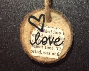 Book Page Wooden Ornaments | Peace | Hope | Love | Grace | Cross