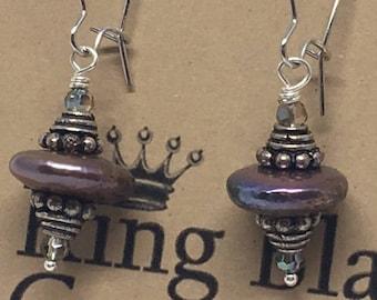 E1862:  Iridescent Genuine Coin Pearl Bali Bead Dangle Hoop Earrings -- Clasp Back