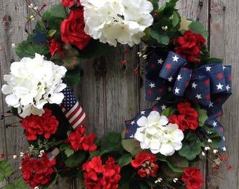 Patriotic Wreath, Summer Wreath, Red, White and Blue Wreath, Americana Wreath, Geranium Wreath, Memorial Day Wreath, 4th of July Decor