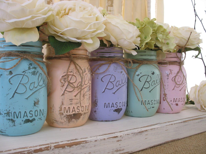 Sale set of 5 pint pastel mason jars painted mason jars zoom junglespirit Images