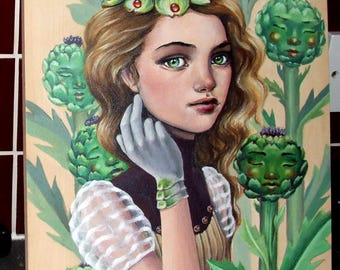 Artichoke's Heart - ORIGINAL acrylic painting on wood - pop surrealism fantasy art portrait