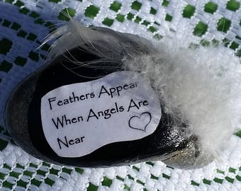 Feathers Appear when Angels are Near Beach Stone #S10-17