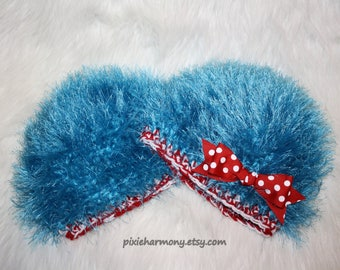 Twin Baby Hats - Thing 1 Thing 2 Inspired - Photo Prop - Polka Dot Bow Optional - Newborn - Reborn Doll - Made to Order