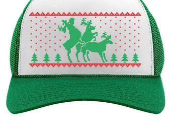 Funny Humping Reindeer Ugly Christmas Trucker Hat Mesh Cap
