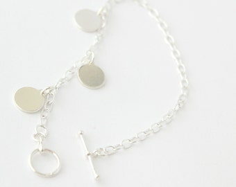 925 Sterling Silver Toggle Bracelet with Free Personalised Engraving, Includes Gift Box & Free Shipping